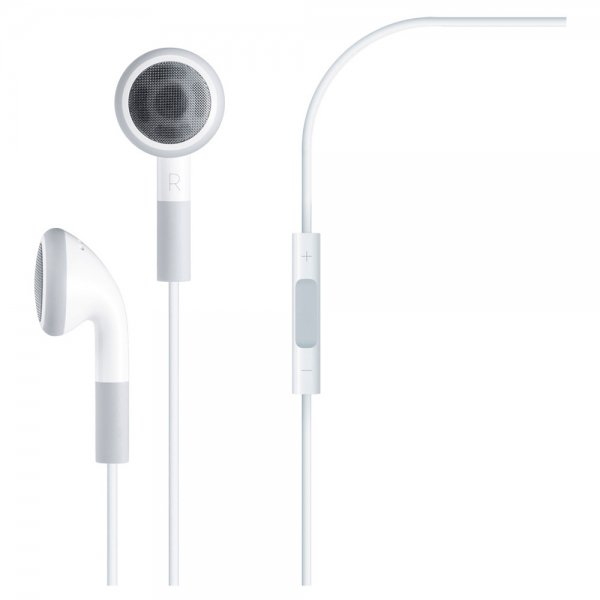3.5mm Earphone with Volume Control & Microphone for iPod/iPhone/iPad White
