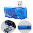 USB Port Power Charger Current Voltage Reader Meter Tester Detector 3.5V-7.0V 0A-3A Blue