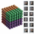 216pcs 5mm DIY Buckyballs Neocube Magic Beads Magnetic Toy Green & Red & Orange & Purple