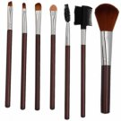 7pcs Professional Cosmetic Makeup Brush Set with Silver Bag Brown
