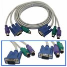 5 FT KVM VGA Male 2 M PS/2 Mouse Keyboard Connect Cable