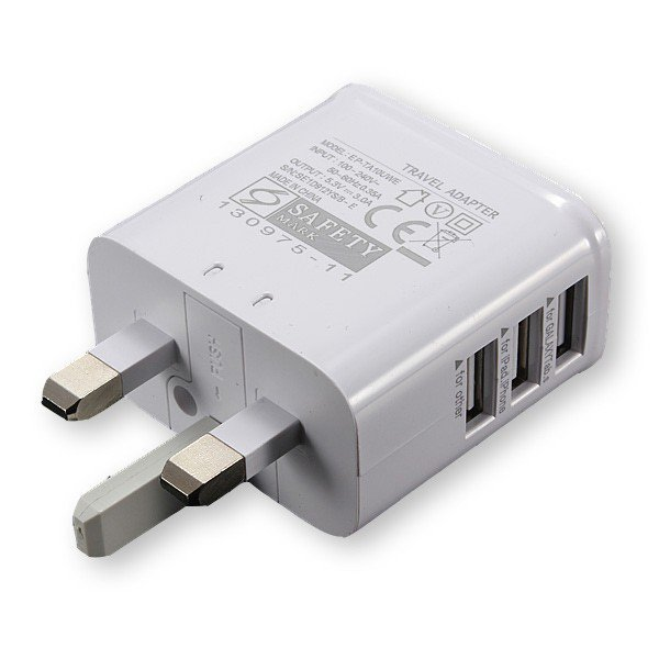 3 USB Ports UK Plug Home Travel Wall AC Power Charger Adapter For iPhone / iPad / Galaxy / Other