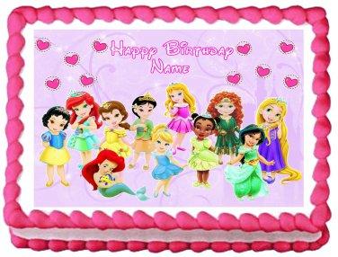 "Edible BABY DISNEY PRINCESS image cake topper 1/4 sheet (10.5"" x 8"")"
