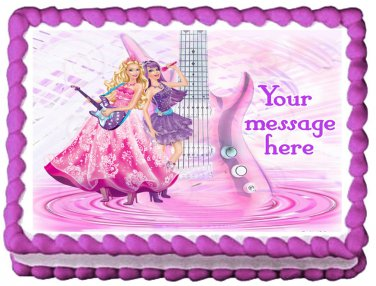 """Edible BARBIE PRINCESS AND THE POPSTAR image cake topper 1/4 sheet (10.5"""" x 8"""")"""