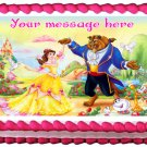 "Edible BEAUTY AND THE BEAST Belle image cake topper 1/4 sheet (10.5"" x 8"")"