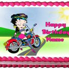"Edible BETTY BOOP MOTORCYCLE image cake topper 1/4 sheet (10.5"" x 8"")"