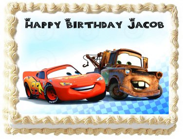 """Edible CARS McQueen and Mater image cake topper 1/4 sheet (10.5"""" x 8"""")"""