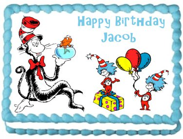 """Edible CAT IN THE HAT image cake topper 1/4 sheet (10.5"""" x 8"""")"""