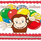 "Edible CURIOUS GEORGE Balloons image cake topper 1/4 sheet (10.5"" x 8"")"
