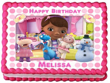 "Edible DOC MCSTUFFINS image cake topper 1/4 sheet (10.5"" x 8"")"