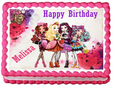 """Edible EVER AFTER HIGH image cake topper 1/4 sheet (10.5"""" x 8"""")"""