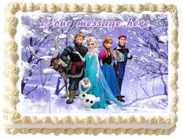 "Edible FROZEN ANNA AND ELSA image cake topper 1/4 sheet (10.5"" x 8"")"
