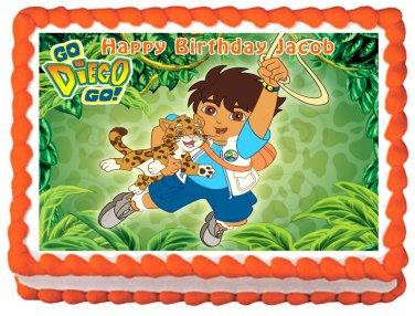 "Edible GO DIEGO GO image cake topper 1/4 sheet (10.5"" x 8"")"
