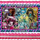 "Edible MONSTER HIGH image cake topper 1/4 sheet (10.5"" x 8"")"