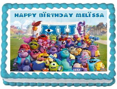 """Edible MONSTER UNIVERSITY Sulley and Mike image cake topper 1/4 sheet (10.5"""" x 8"""")"""
