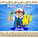 "Edible POKEMON Pikachu & Ash image cake topper 1/4 sheet (10.5"" x 8"")"
