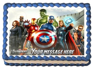 "Edible THE AVENGERS image cake topper 1/4 sheet (10.5"" x 8"")"