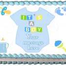 "Edible BLUE BABY ONESIE image cake topper 1/4 sheet (10.5"" x 8"")"
