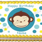 "Edible MOD MONKEY Boys image cake topper 1/4 sheet (10.5"" x 8"")"