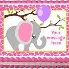 "Edible BABY ELEPHANT SAFARI image cake topper 1/4 sheet (10.5"" x 8"")"