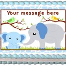 "ELEPHANT BABY Blue  Edible image cake topper 1/4 sheet (10.5"" x 8"")"