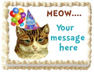 "Edible CAT image cake topper 1/4 sheet (10.5"" x 8"")"