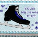 "Edible BLACK ICE SKATES image cake topper 1/4 sheet (10.5"" x 8"")"