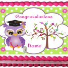 "Edible OWL GRADUATION image cake topper 1/4 sheet (10.5"" x 8"")"