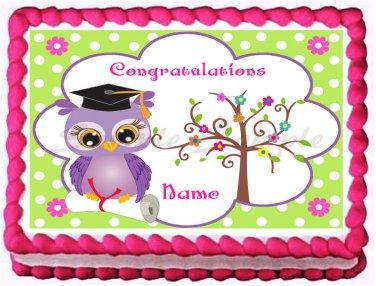 "Edible OWL GRADUATION image cake topper 1/4 sheet (10.5"" x 8"")"