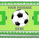 "Edible SOCCER BALL image cake topper 1/4 sheet (10.5"" x 8"")"