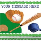 "Edible BASEBALL image cake topper 1/4 sheet (10.5"" x 8"")"