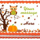 "Edible OWL AUTUMN image cake topper 1/4 sheet (10.5"" x 8"")"