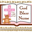 "Edible GIRL BAPTISM BIBLE image cake topper 1/4 sheet (10.5"" x 8"")"