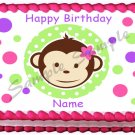 "Edible GIRL MOD MONKEY image cake topper 1/4 sheet (10.5"" x 8"")"