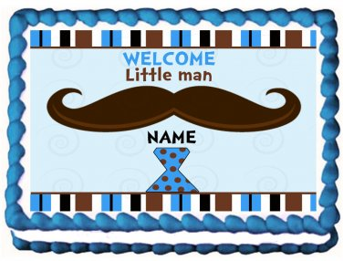 "Edible LITTLE MAN MUSTACHE image cake topper 1/4 sheet (10.5"" x 8"")"