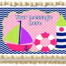 "Edible GIRL NAUTICAL SAILBOAT image cake topper 1/4 sheet (10.5"" x 8"")"