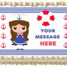 "Edible NAUTICAL SAILOR GIRL image cake topper 1/4 sheet (10.5"" x 8"")"