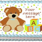 "Edible BOY TEDDY BEAR image cake topper 1/4 sheet (10.5"" x 8"")"