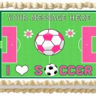 "Edible GIRLS SOCCER BALL image cake topper 1/4 sheet (10.5"" x 8"")"