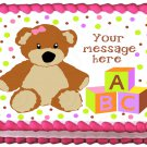 "Edible GIRL TEDDY BEAR image cake topper 1/4 sheet (10.5"" x 8"")"