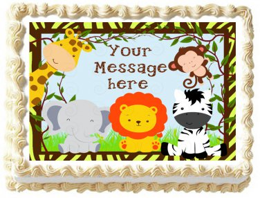 "Edible SAFARI ANIMALS IN THE JUNGLE image cake Topper 1/4 sheet (10.5"" x 8"")"