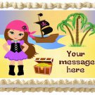 "Edible PIRATE GIRL image cake Topper 1/4 sheet (10.5"" x 8"")"