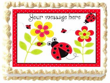 """Edible LADYBUG Lady bug image cake Topper 1/4 sheet (10.5"""" x 8"""")"""