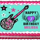 "Edible TEAL ROCKSTAR GUITAR image cake Topper 1/4 sheet (10.5"" x 8"")"