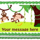 "Edible SWINGING TWIN MONKEYS image cake Topper 1/4 sheet (10.5"" x 8"")"