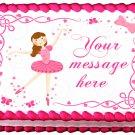 """BALLERINA PINK TUTU Edible image cake Topper 1/4 sheet (10.5"""" x 8"""")"""