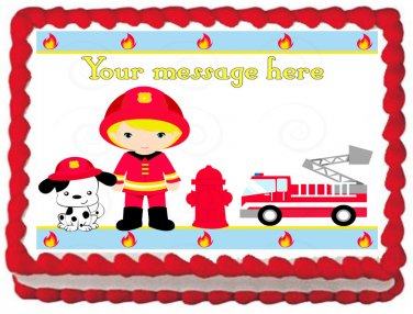 "Edible BOY FIREFIGHTER image cake Topper 1/4 sheet (10.5"" x 8"")"
