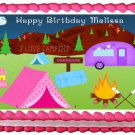 """Edible GIRLS CAMPING image cake topper  1/4 sheet (10.5"""" x 8"""")"""