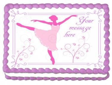 """Edible BALLERINA DANCER image cake topper 1/4 sheet (10.5"""" x 8"""")"""