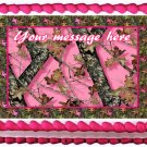 "Edible PINK CAMO image cake topper 1/4 sheet (10.5"" x 8"")"